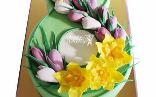 3D торт на 8 марта, торты на заказ Московский пекарь