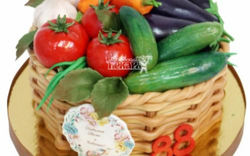 Торт корзина овощей, торты на заказ Московский пекарь