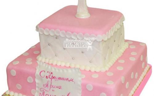 Детский торт на крещение девочки, торты на заказ Московский пекарь