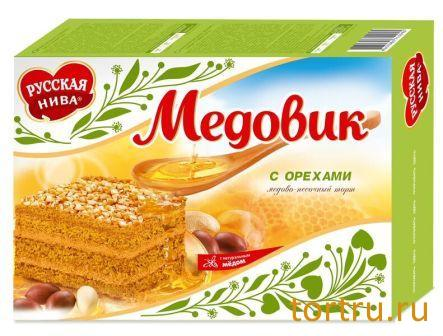 """Торт """"Медовик"""" с орехами, Русская Нива"""