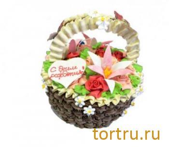 """Торт """"Малиново-творожный. Корзина с цветами"""", Хлебокомбинат Кольчугинский"""